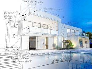 3D rendering of a luxurious pool with contrasting realistic rendering and wireframe and notes