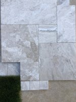 08 Evening Marble decking:coping & water tiles lower level on old travertine deck.JPG