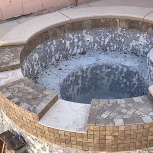 top view of spa into pool