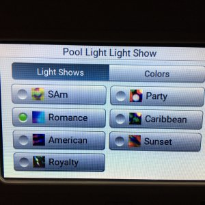 IntelliCenter Pool Light Light Show Menu