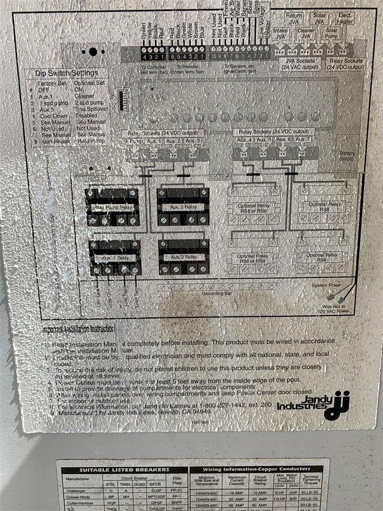 Jandy RS8 Panel Circuits